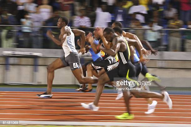 Track Field Reebok Grand Prix Jamaica Usain Bolt in action leading race and setting record vs USA Tyson Gay during 100M at Icahn Stadium on Randall's...