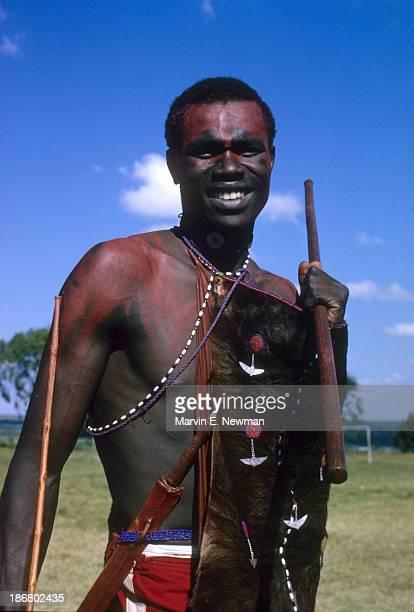 Sports in Africa Portrait of Kenyan runner Daniel Rudisha dressed in a cowskin garment of a Masai warrior during visit to a village track meet...