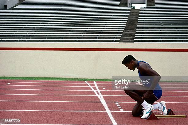 Track Field Summer Games Preview Portrait of USA Carl Lewis kneeling on track during photo shoot Houston TX 4/1/19884/30/1988 CREDIT Neil Leifer