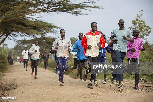 Summer Games Preview: View of Refugee Olympic Team athletes in action, running during training near the Tegla Lorupe Training Center. The IOC created...