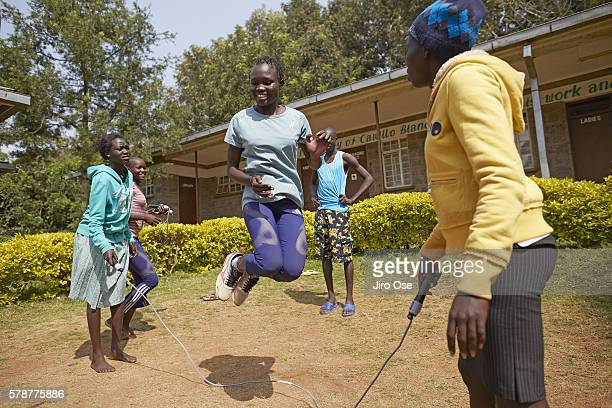 Summer Games Preview: View of Refugee Olympic Team Rose Nathike Lokonye in action, jump rope at the Tagla Lorupe Training Center. The IOC created the...