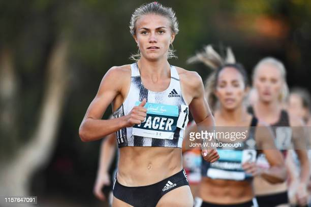 Sunset Tour View of Pacer Therese Haiss in action during Women's 1500M race at Azusa Pacific University Cougar Stadium Azusa CA CREDIT John W...