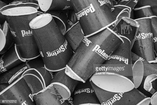 TCS New York City Marathon Closeup of bin on used water cups after race New York NY CREDIT Erick W Rasco