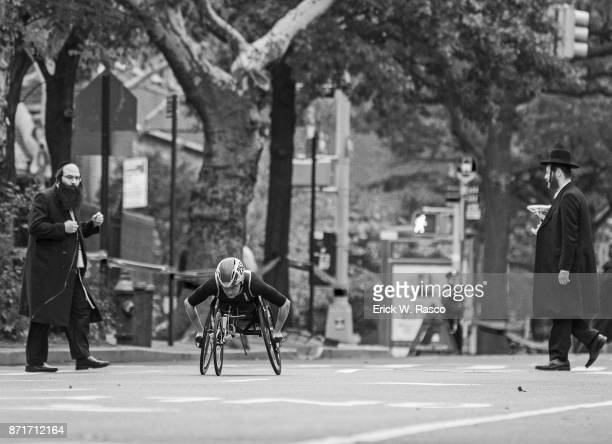 TCS New York City Marathon View of runner in action during Wheelchair Division of race New York NY CREDIT Erick W Rasco