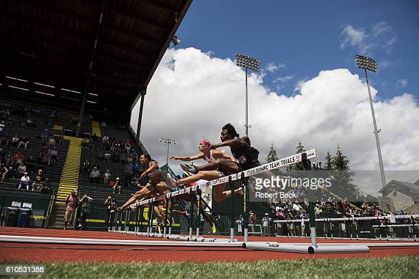 US Olympic Team Trials Chantae McMillan and Quintunya Chapman in action during 100M Hurdles of Women's Heptathlon at Hayward Field Eugene OR CREDIT...
