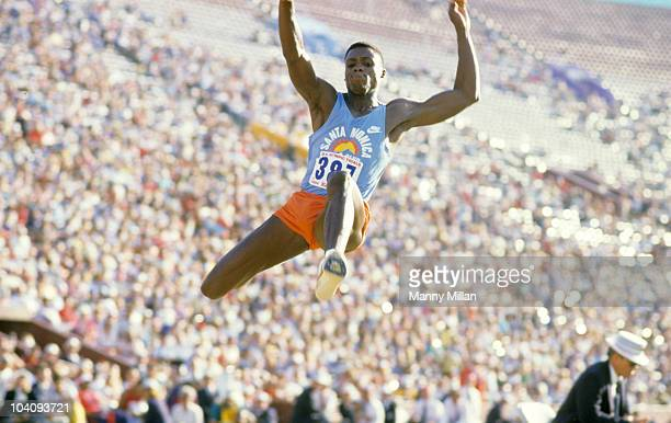 US Olympic Trials Carl Lewis in action during Men's Long Jump competition at Los Angeles Memorial Coliseum Los Angeles CA 6/16/1984 CREDIT Manny...