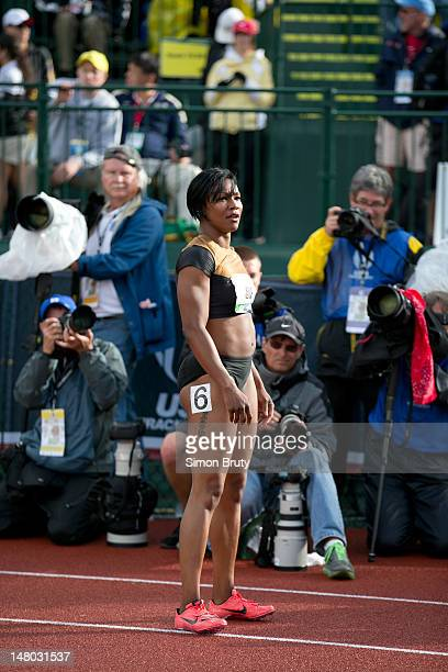 US Olympic Trials Carmelita Jeter before Women's 100M Final at Hayward Field Eugene OR CREDIT Simon Bruty