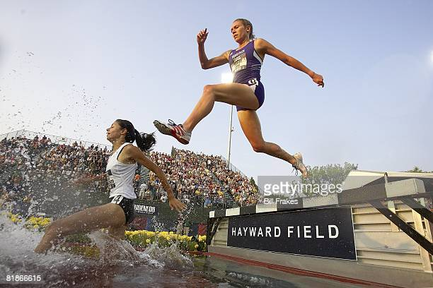 US Olympic Trials Delilah DiCrescenzo and Sarah Long in action during 3000M Steeplechase at Hayward Field Eugene OR 6/30/2008 CREDIT Bill Frakes