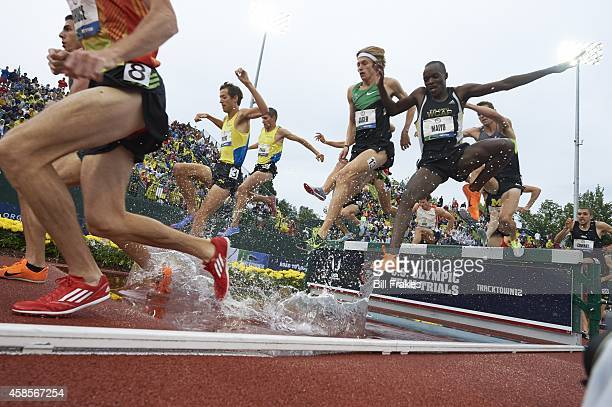 US Olympic Trials Evan Jager and Augustus Mayo in action during Men's 3000M Steeplechase Final race at Hayward Field Eugene OR CREDIT Bill Frakes