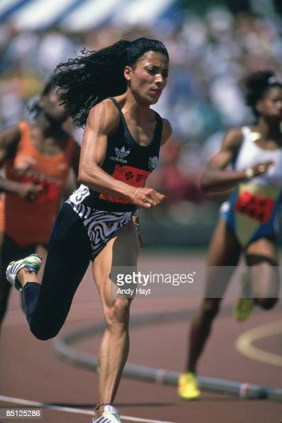 US Olympic Trials Florence Griffith Joyner in action during Women's 200M at IUPUI Carroll Stadium Indianapolis IN 7/15/19887/23/1988 CREDIT Andy Hayt