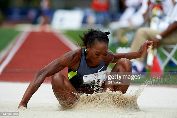 US Olympic Trials Funmi Jimoh in action during Women's Long Jump Final at Hayward Field Eugene OR CREDIT Bill Frakes