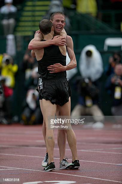 US Olympic Trials Galen Rupp and Dathan Ritzenhein victorious after Men's 10000M Final at Hayward Field Eugene OR CREDIT Simon Bruty