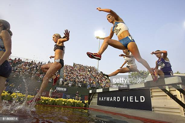 US Olympic Trials Kara June Lisa Galaviz Delilah DiCrescenzo and Sarah Long in action during 3000M Steeplechase at Hayward Field Eugene OR 6/30/2008...