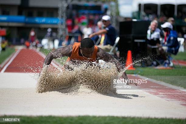US Olympic Trials Marquise Goodwin in action during Men's Long Jump final at Hayward Field Eugene OR CREDIT Simon Bruty