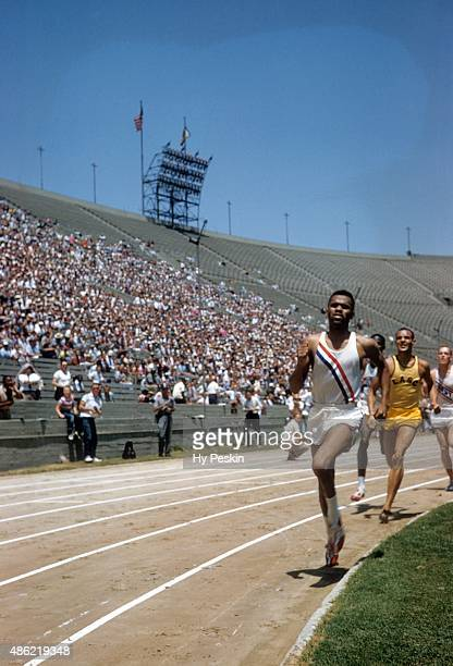 US Olympic Trials Pitt Arnie Sowell in action with Cal State Los Angeles Mal Whitfield during 800M Final at Los Angeles Memorial Coliseum Los Angeles...