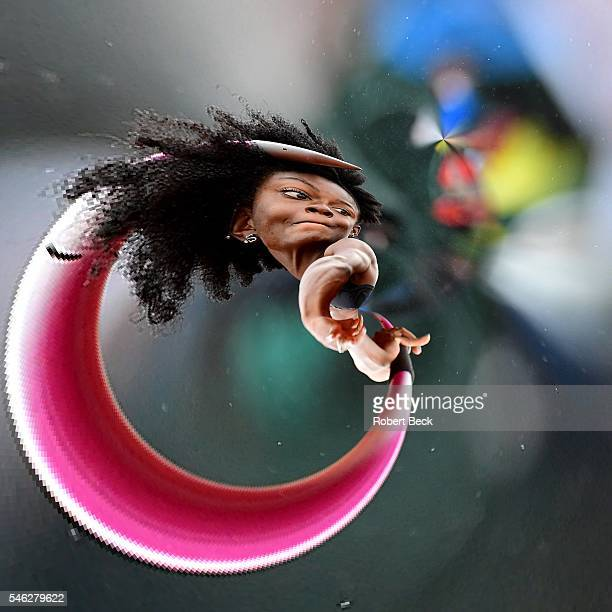 US Olympic Trials Stereographic view of Quintunya Chapman in action during Javelin of Heptathlon at Hayward Field Eugene OR CREDIT Robert Beck