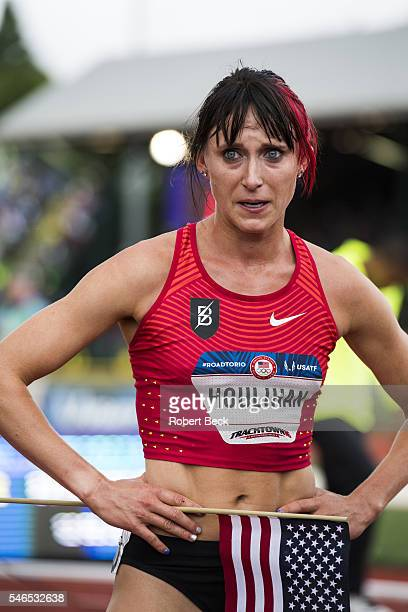 Olympic Trials: View of Shelby Houlihan victorious after Women's 5000M Final at Hayward Field. Eugene, OR 7/10/2016 CREDIT: Robert Beck