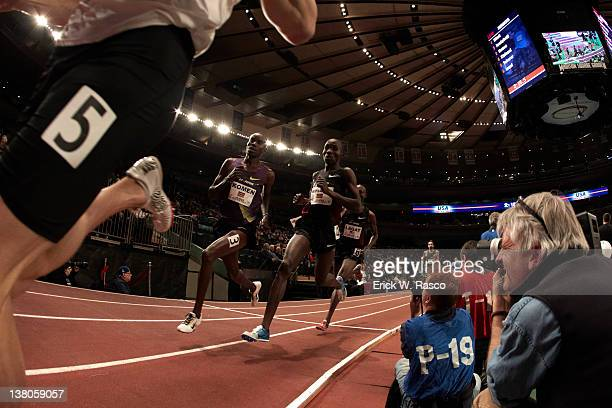 Open: USA Matt Scherer, Kenya Daniel Komen, Kenya Silas Kiplagat and USA Bernard Lagat in action during Men's Mile competition at Madison Square...