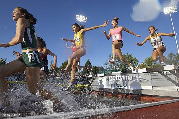 USA Outdoor Championships Delilah DiCrescenzo Andrea Parker and Amanda Lorenzen in action during Women's 3000M Steeplechase 1st Round at Hayward...
