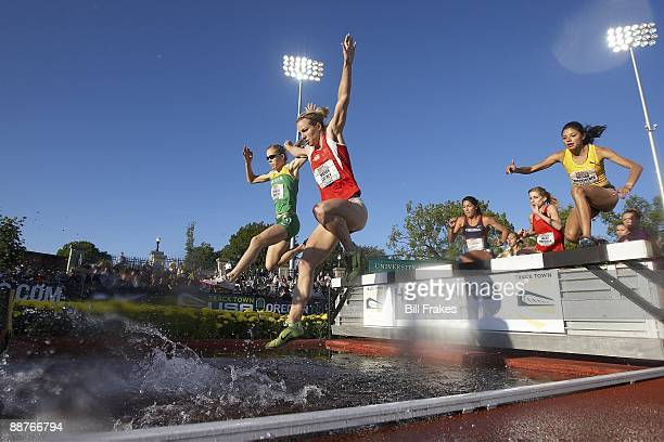 USA Outdoor Championships Mason Cathey and Delilah DiCrescenzo in action during Women's 3000M Steeplechase 1st Round at Hayward Field Eugene OR...