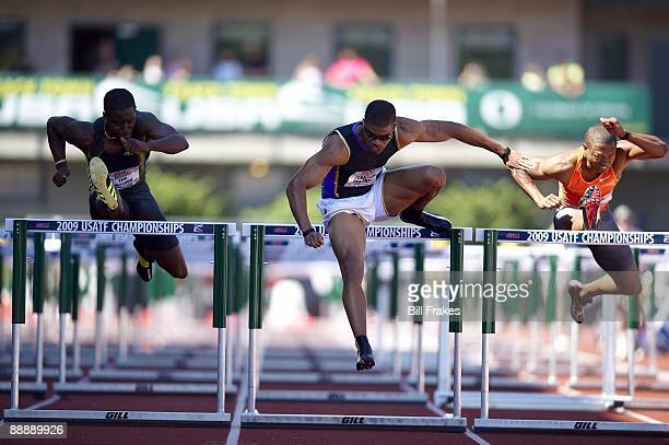 USA Outdoor Championships Terrence Trammell in action during Men's 110M Hurdles Semifinal at Hayward Field Eugene OR 6/27/2009 CREDIT Bill Frakes