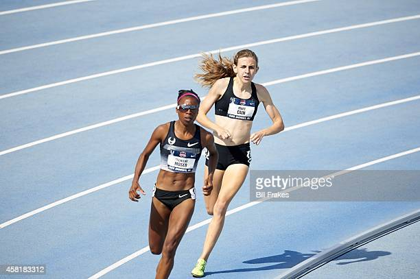 USA Outdoor Championships Treniere Moser and Mary Cain in action during Women's 1500M Heat at Drake Stadium Des Moines IA CREDIT Bill Frakes