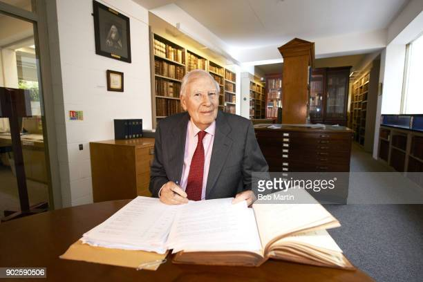Where Are They Now Portrait of former world record miler Sir Roger Bannister during photo shoot at Pembroke College of the University of Oxford...