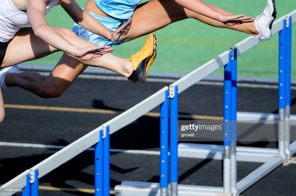 Track hurdle race. : Stock Photo