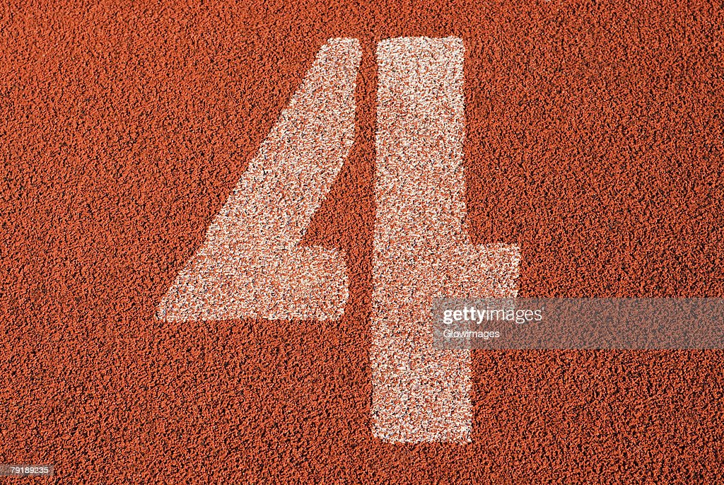 Track number 4 of a running track : Foto de stock