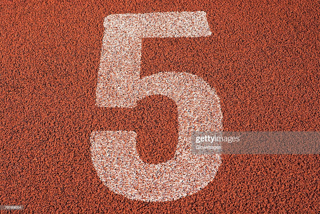 Track number 5 of a running track : Foto de stock