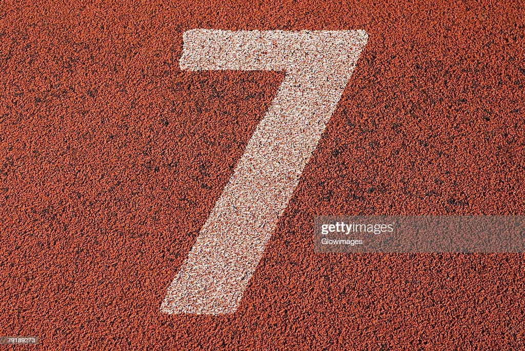 Track number 7 of a running track : Foto de stock