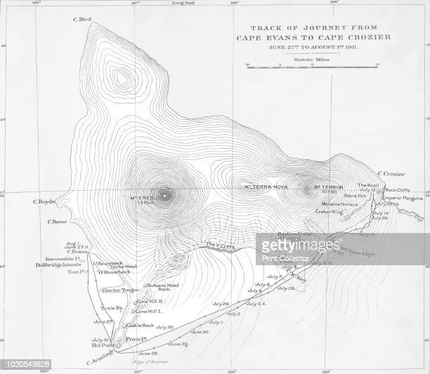 Track of Journey from Cape Evans to Cape Crozier June 27th to August 1st 1911' The final expedition of British Antarctic explorer Captain Robert...