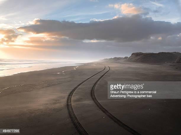 Track on beach