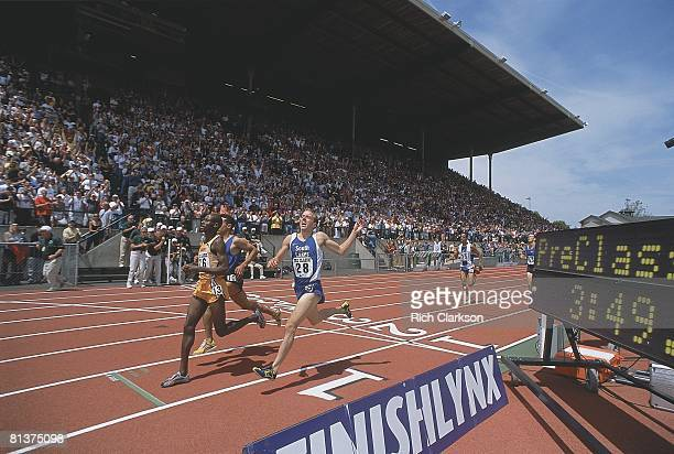 Track: Prefontaine Classic, Alan Webb in action, placing fifth and breaking HS mile record with 3:53:43 time, View of fans at stadium, Eugene, OR...