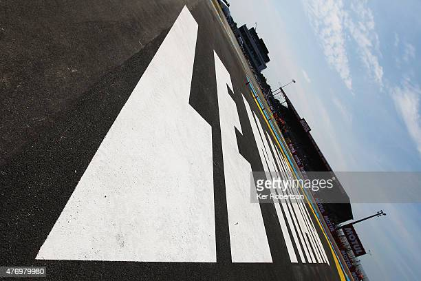 Track signage at the Ford Chicane before the Le Mans 24 Hour race at the Circuit de la Sarthe on June 13, 2015 in Le Mans, France.