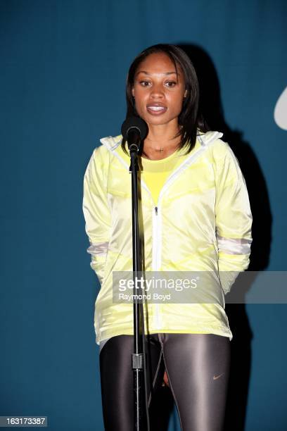 Track star Allyson Felix is interviewed during the Third Anniversary Of Let's Move With First Lady Michelle Obama at McCormick Place in Chicago...