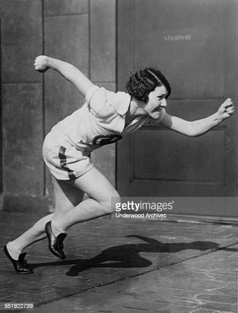 Track star Catherine Donovan, holder of the indoor 800 meter record, training for the 1928 Olympics, Newark, New Jersey, January 1928.
