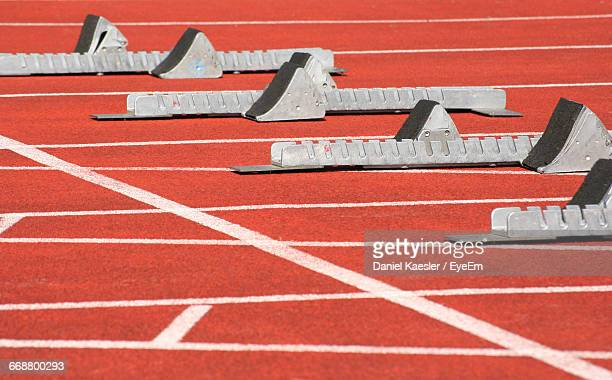 Track Starting Block In Row On Playing Field