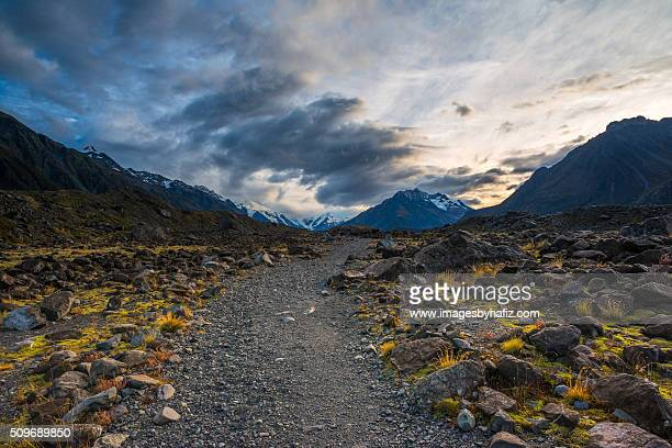 Track to Lake Hooker, Mt. Cook at Sunrise