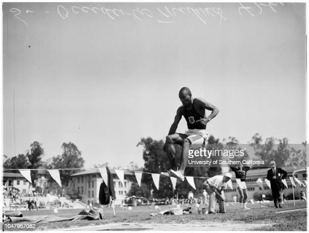 Track University of Southern California versus Occidental 8 April 1961 Bob PierceDoug SmithDallas LongBill Jackson Caption slip reads 'Photographer...