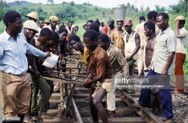 Track volunteers undertaking re habitation work on Ghana Railways one mile south of Tarkwa station on Saturday 8 June 1985