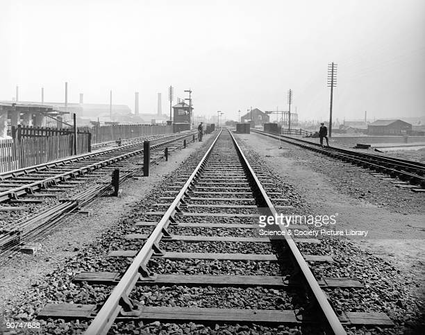 Track with steel sleepers England 1933 View along a section of railway track on the Great Western Railway at Wednesbury 1 August 1933