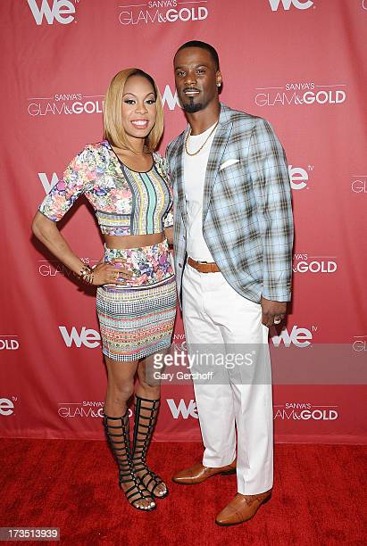 """Track world champion Sanya Richards-Ross and New York Giants cornerback Aaron Ross attend """"Sanya's Glam And Gold"""" Series Premiere at Gansevoort Hotel..."""