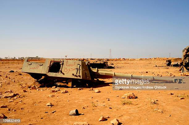 A tracked artillery vehicle destroyed by NATO forces outside Benghazi, Libya.