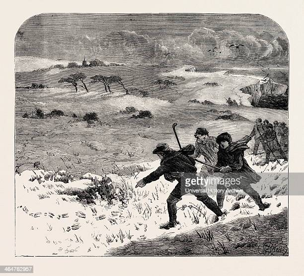 Tracking Rabbits Through The Snow 1873 Engraving
