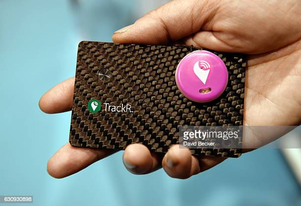 TrackR Wallet and TrackR Pixel are displayed during a press event for CES 2017 at the Mandalay Bay Convention Center on January 3 2017 in Las Vegas...
