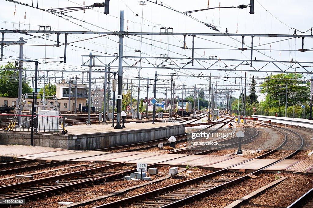 Tracks at station Venlo : Stock Photo