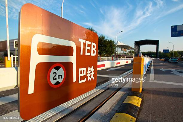 Tracks for Transit Elevated Bus are pictured on September 7 2016 in Qinhuangdao Hebei Province of China Medias reported in April that the Qinhuangdao...