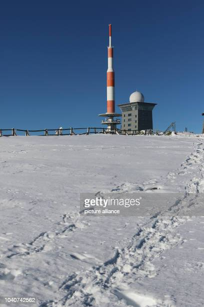 Tracks in the snow on Brocken mountain near Schierke Germany 21 January 2017 Visitors of the Harz region can expect sunshine and a lot of snow Photo...