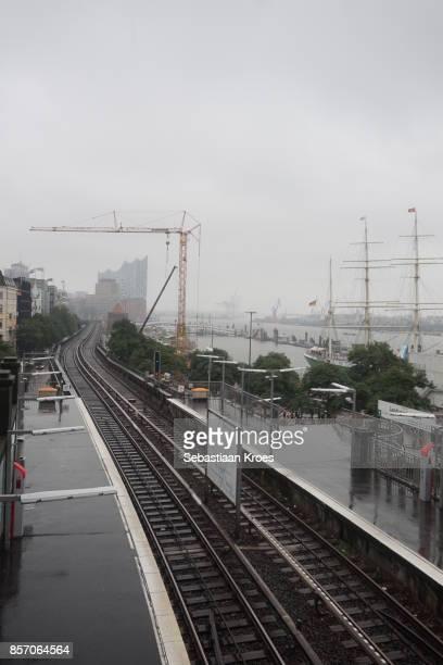 Tracks of the Subway Line 3, Rainy Hamburg, Germany